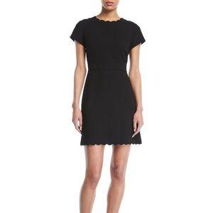 NEW Club Monaco Santina Scalloped Black Dress 12